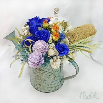 藍調灑花壺裝飾乾燥花