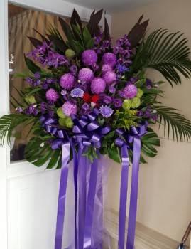 《紫色奇蹟》加高藝術高架花籃一對