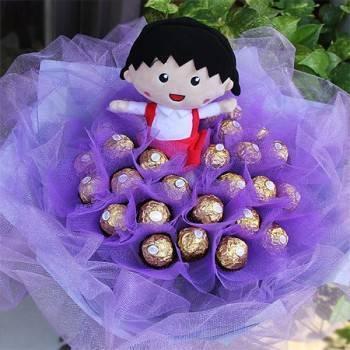 【日本人氣玩偶】代購小丸子+30朵金莎巧克力花束