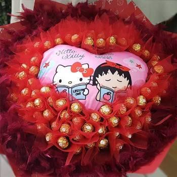 《滿滿愛你的心》心型抱枕99朵金莎巧克力花束