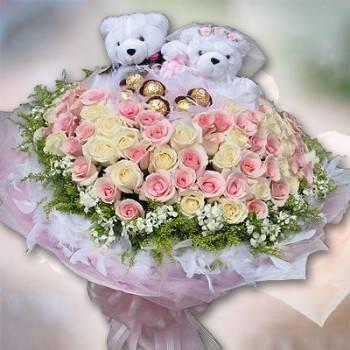 《兩情相悅》婚侶熊99朵鐵達尼雙色玫瑰花束