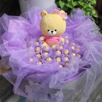 《寶貝露露》lulu熊玩偶+50朵金莎花束