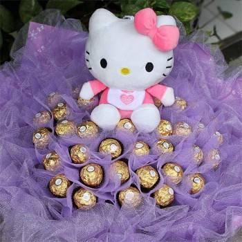 《粉愛寶貝》代購kitty玩偶+33朵金莎花束