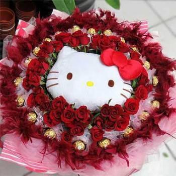 《520我愛妳》代購卡通明星kitty玩偶+50朵玫瑰20朵金莎花束