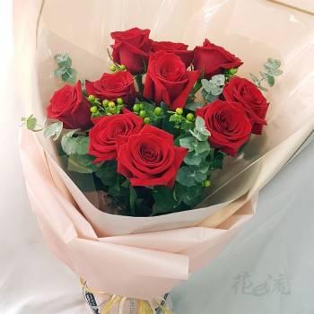 《濃濃深情》情人節進口大朵玫瑰花束