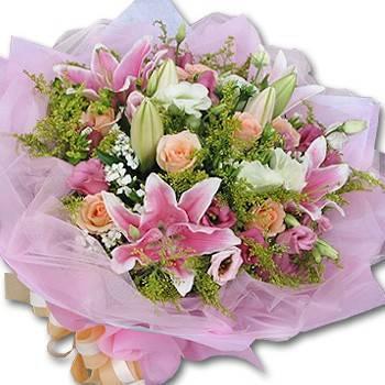 《戀戀風情》粉百合玫瑰花束