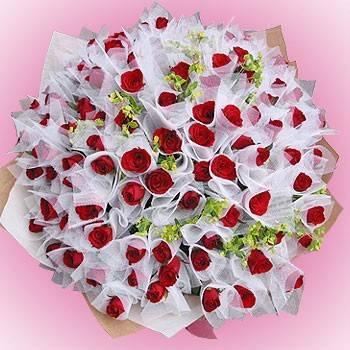 《妳是我今生新娘》99朵紅玫瑰包紗花束