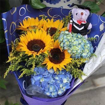 《畢業了》畢業熊向日葵繡球畢業花束