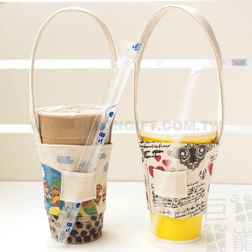 寬版帆胚布飲料杯提袋可插吸管(全版全彩數位直噴)