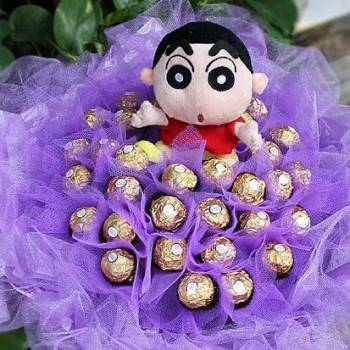 蠟筆小新+36朵金莎巧克力花束