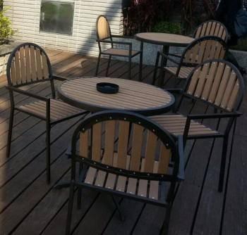 鋁製塑木圓桌組