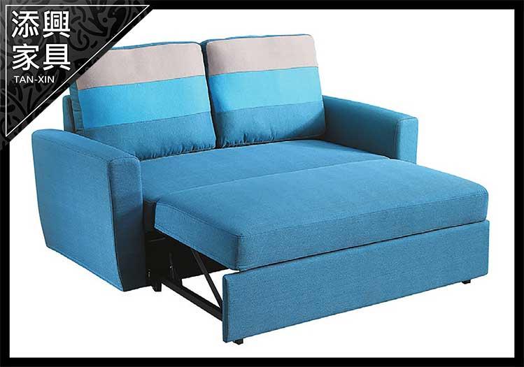 【沙發床】 【添興家具】 P348-3 H30#布雙人沙發床(雙扶手)藍色  大台北地區滿5千免運