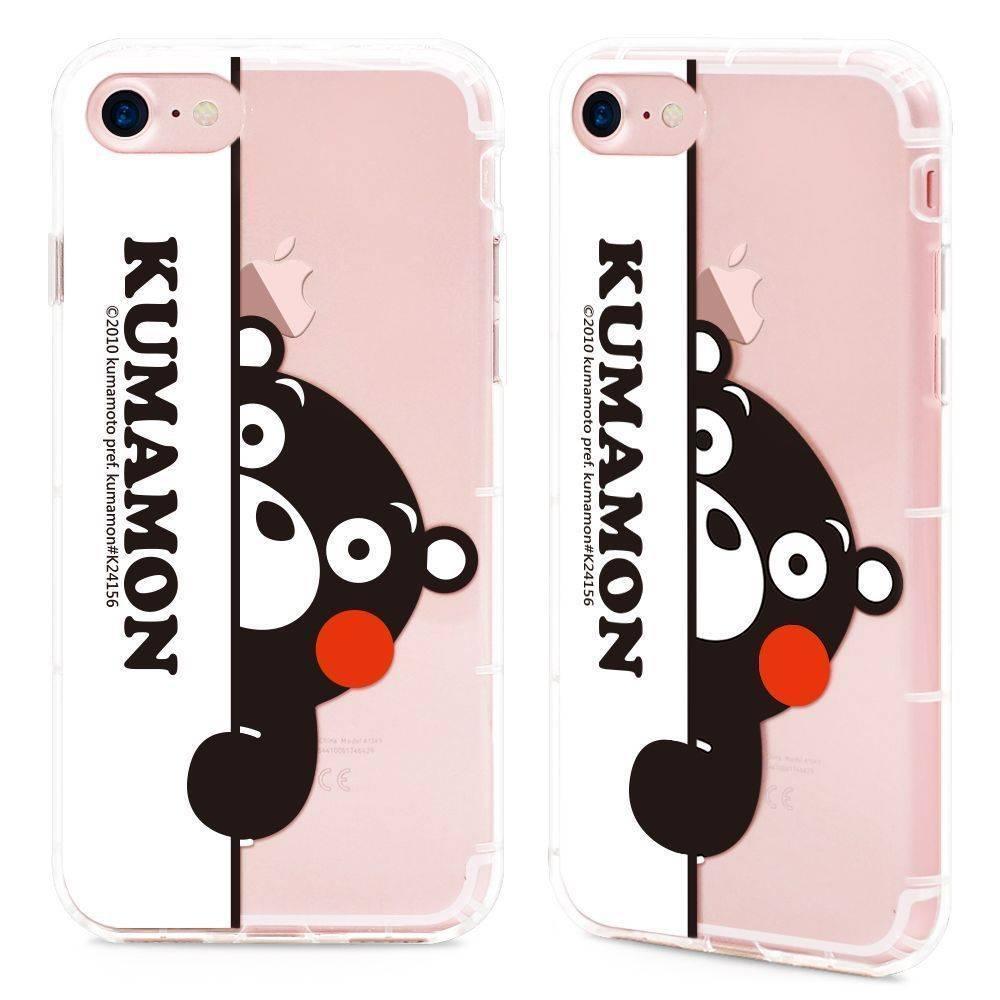 GARMMA Kumamon熊本熊 iPhone 7/8 -空壓氣墊防摔保護軟殼-躲貓貓