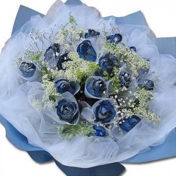 《深情》情人節藍玫瑰花束