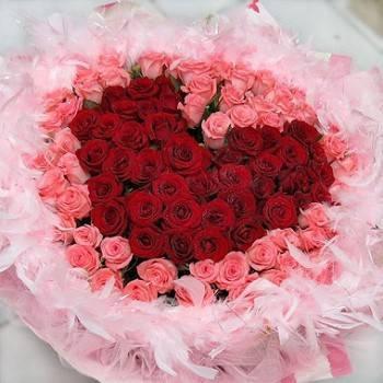 《愛你的心》108朵心型紅玫瑰+粉玫瑰花束