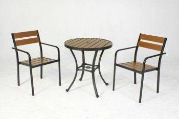 鋁合金70塑木圓桌組