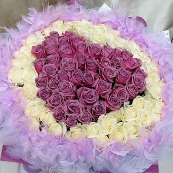 《紫愛你的心》99朵心型紫玫瑰+翡翠白玫瑰花束