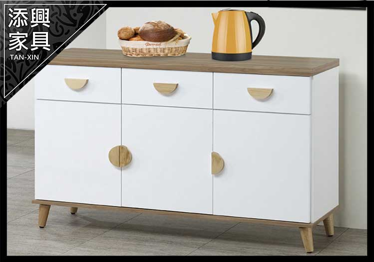 【餐櫃】 【添興家具】 A856-4 愛琴海 4 尺雙色碗盤櫃下座 (#C32)  大台北地區滿5千免運