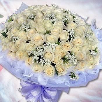 《愛情綿長》99朵國產頂級翡翠白玫瑰情人節花束