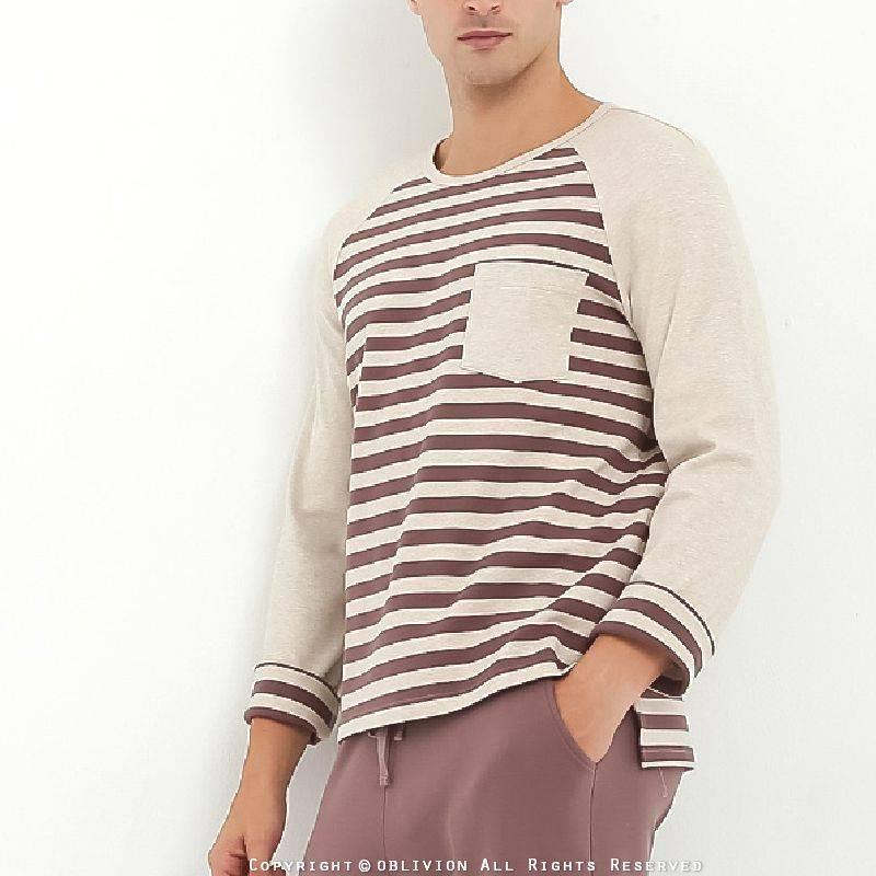 男橫條紋棉質居家上衣