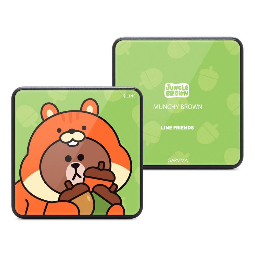 GARMMA LINE FRIENDS 玻璃鏡面行動電源 叢林系列 松鼠熊大