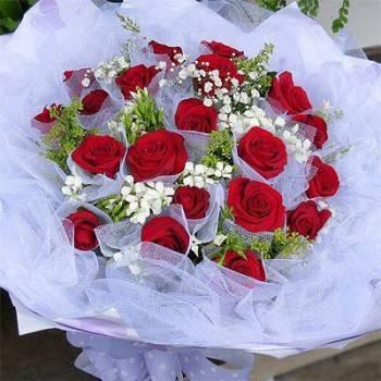 情人節《思念》玫瑰桔梗花束