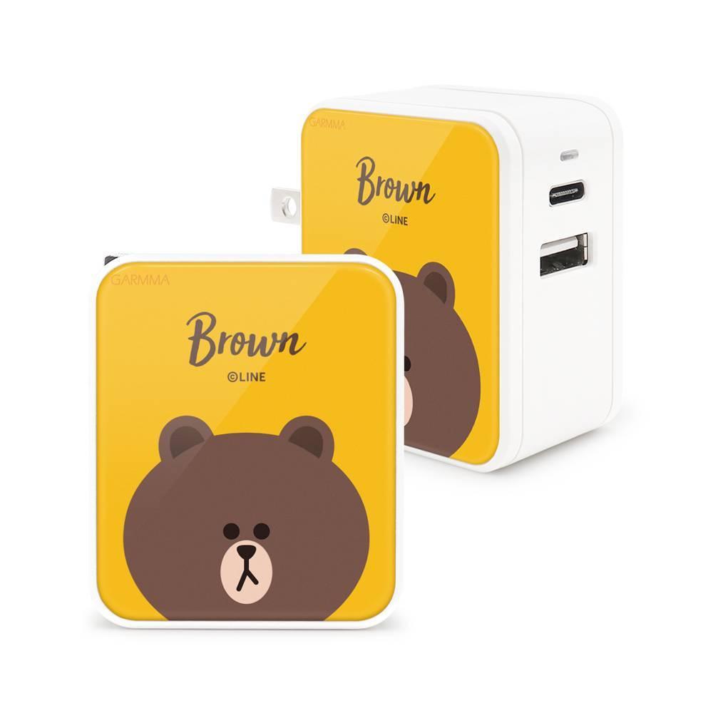 GARMMA LINE Friends Type-C & USB 雙孔充電器-熊大