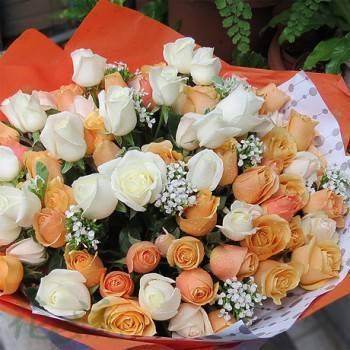 《香醇愛情》自然浪漫風99朵香檳白玫雙色玫瑰花束