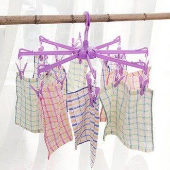 16夾圓形折疊晾衣架/掛衣夾/襪子內衣晾曬夾/防風曬衣架/小件衣物襪子晾曬架 Lohogo樂活趣