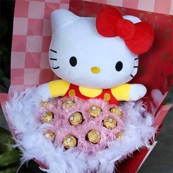 《浪漫寶貝》代購kitty玩偶+11朵金莎花束
