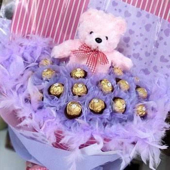 《最愛是你》泰迪熊21朵金莎小熊花束