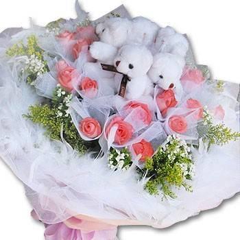 【愛情密碼】《520愛你》5隻小熊20朵玫瑰包紗花束