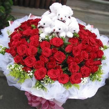 《999真愛永恆》9隻小熊+99朵玫瑰花束