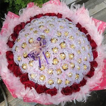 《攜手圓夢》99朵華麗金莎玫瑰花束
