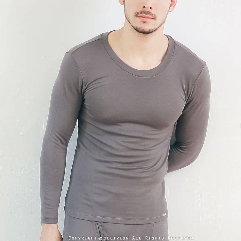 男柔軟刷毛圓領保暖衣