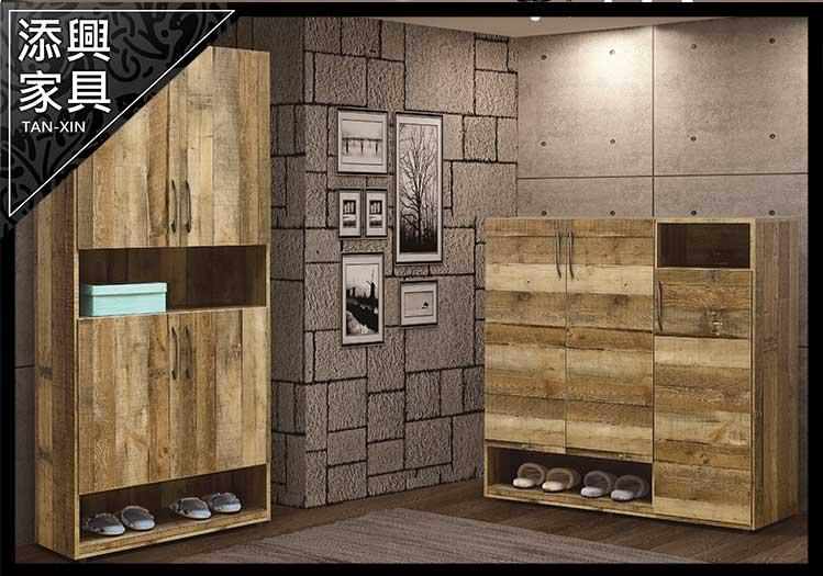 【鞋櫃】 【添興家具】 A761-4  雀巢2.7 × 6尺厚切木紋高鞋櫃(#758)  大台北地區滿5千免運