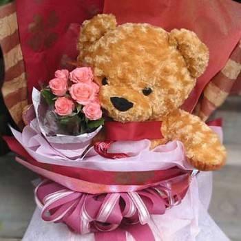 《寶貝愛你》18吋熊抱玫瑰花束