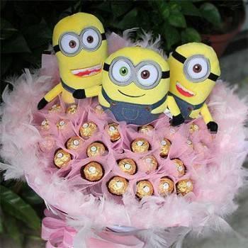 《愛情大進擊》代購授權版小小兵+50朵金莎巧克力花束