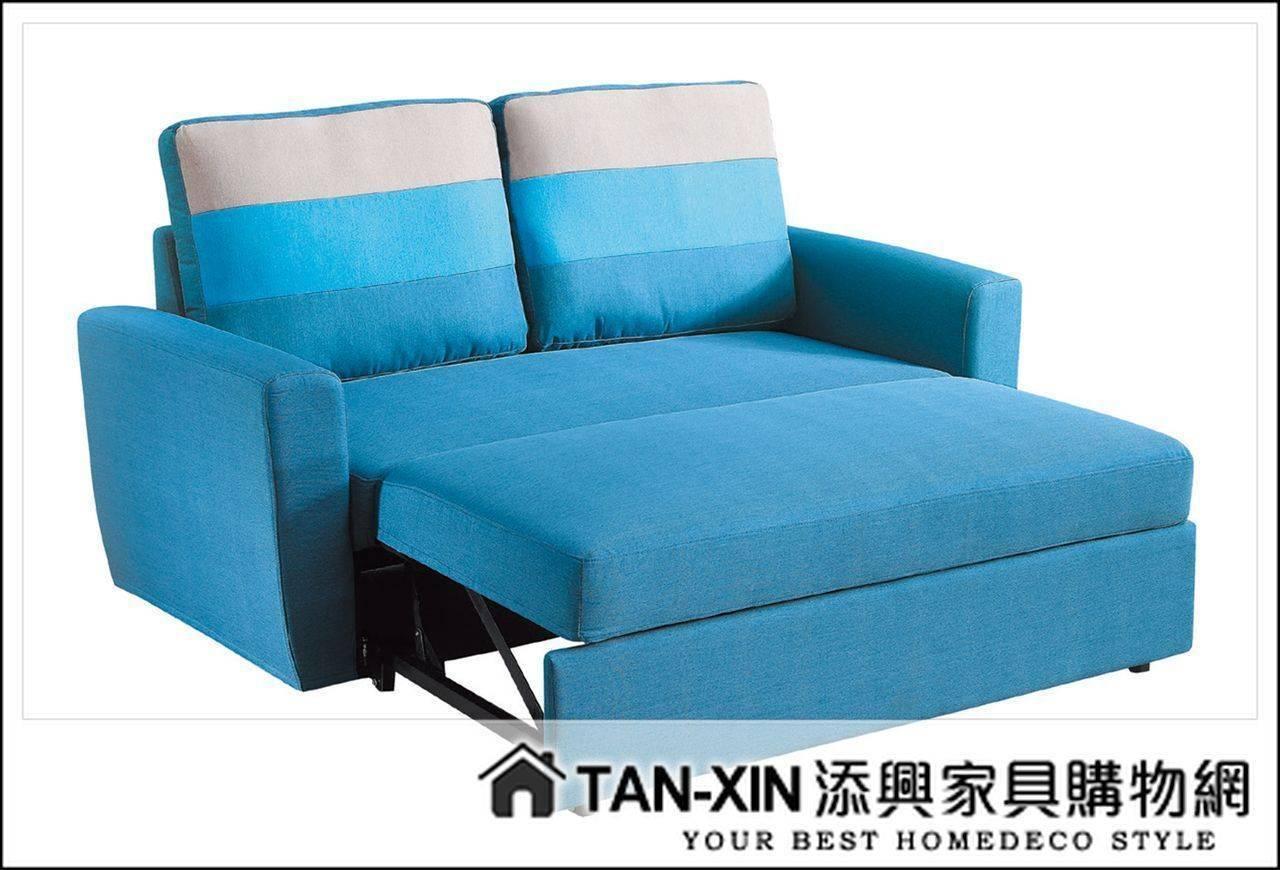 【添興家具】P351-1 H30#藍色布雙人沙發床(雙扶手)  ~大台北區滿5千免運