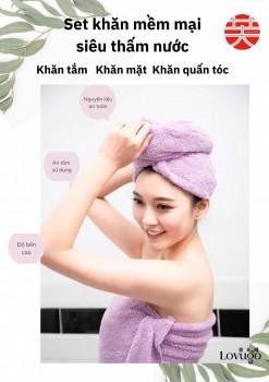 Set khăn tắm mềm mại siêu thấm nước LOVUGO hàng nội địa Đài (Set gồm khăn tắm + khăn mặt + Khăn quấn tóc)