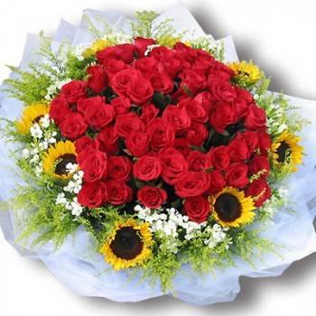《陽光戀曲》環向日葵60朵玫瑰花束