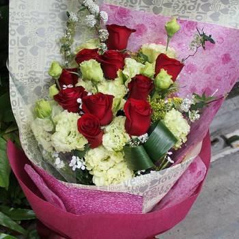 《珍愛》情人節進口玫瑰桔梗花束