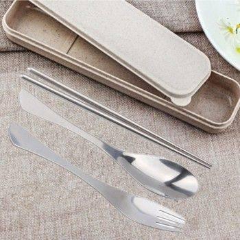 easy 環保餐具套裝 不銹鋼叉子,湯匙,筷子旅行4件套 戶外便攜式餐具 筷+匙+叉+防塵盒-1入