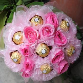 玫瑰金莎新娘捧花