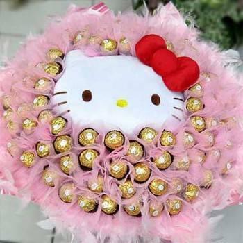 《浪漫愛情》代購kitty玩偶+99朵金莎巧克力花束