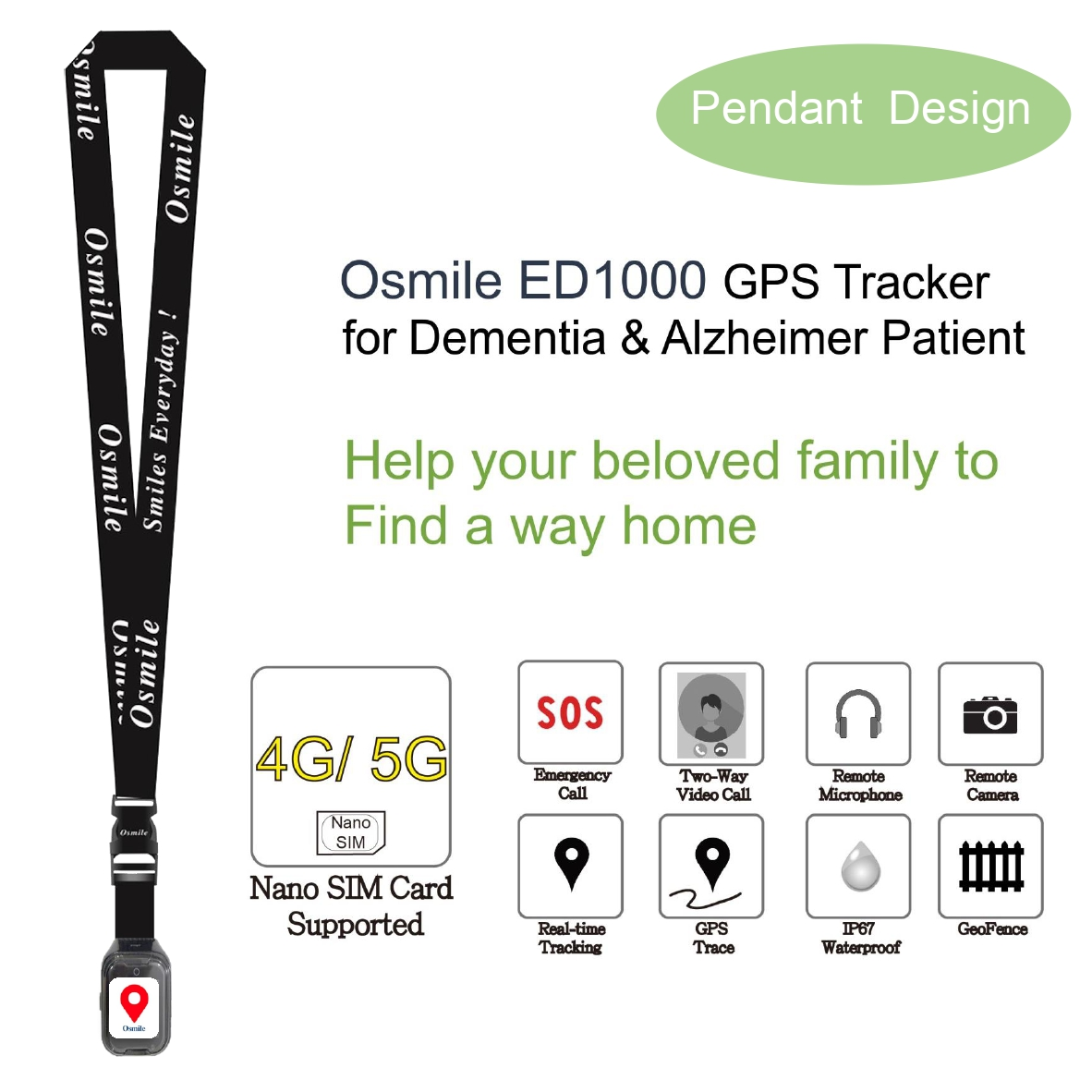 Osmile ED1000 GPS Tracker for dementia & Alzheimer Pendant-1 (GPS Tracker Pendant)