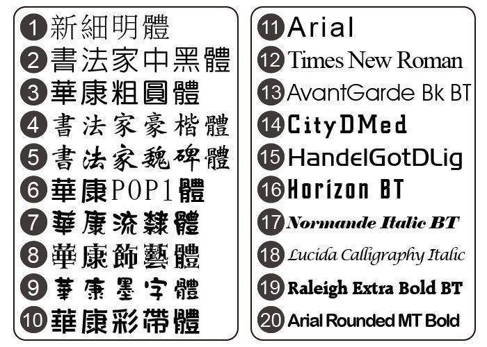 旗幟布條常用字體表-優聯創意設計印刷有限公司