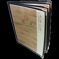 西式透明PVC活頁菜單本 四張 8面/黑色
